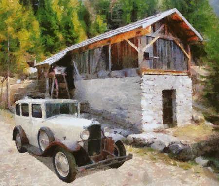 molino de agua: Vauxhall Cadette 1931, en la pintura de aceite viejo molino de agua