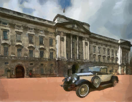 bonnet illustration: Henley Roadster in front of Palace Painting.
