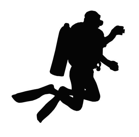 water tanks: Sport Silhouette - Scuba Diver Taking Under Water Picture Illustration