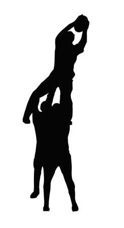 throwing ball: Sport Silhouette - Rugby Players Supporting Lineout Jumper Catching the Ball Illustration