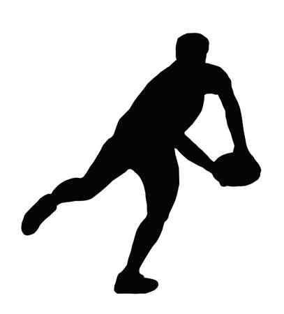 ballon de rugby: Silhouette - joueur de rugby � rendre Swinging Pass Running de sport.