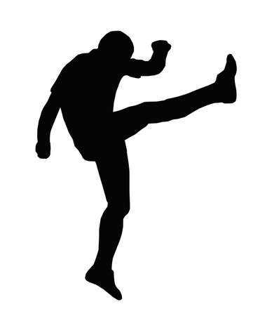 Sport Silhouette - Rugby Football Kicker Kicking an Up an Under Vector