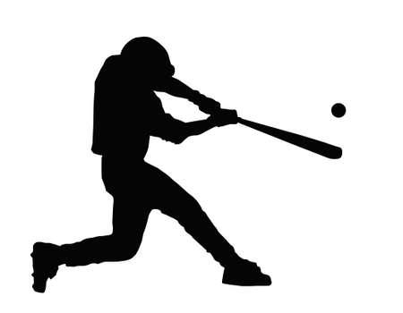 beisbol: Bateador de b�isbol golpear la pelota con el palo de Home Run
