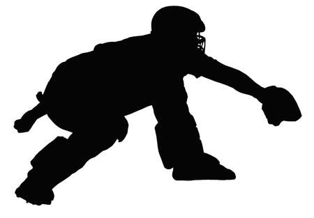 catcher baseball: Baseball Catcher rembourr� Calling et attente de livraison Illustration