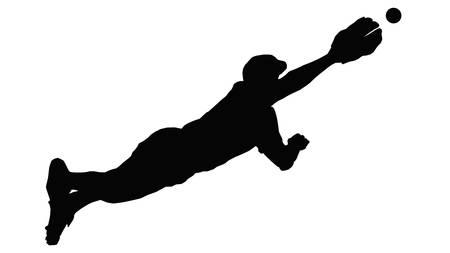 gevangen: Baseball Fielder Duiken door de lucht te bal te vangen