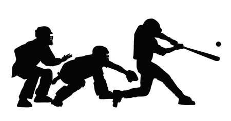 golpeando: Bateador de b�isbol golpear la pelota con el �rbitro y guardi�n mirando Vectores