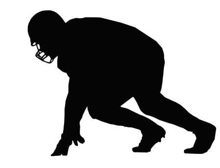 football play: Americano silhouette Posizione del giocatore di calcio pronto per scrimmage