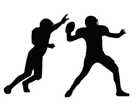 acolchado: Silueta de f�tbol americano Quarterback Con el objetivo de Lanza con Defensor bloqueo Vectores