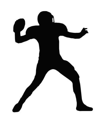 voetbal silhouet: Silhouette American Football Quarterback Gericht op bal te gooien