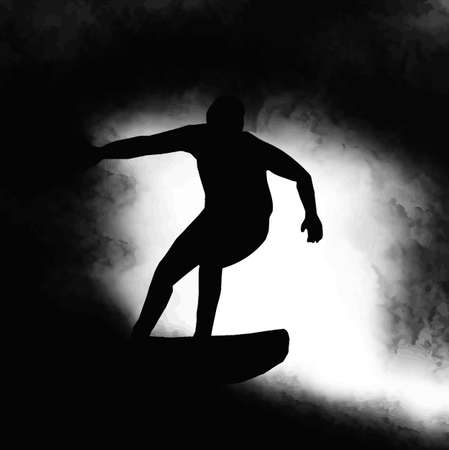 surfer silhouette: Silhouette Surfer Surfing Through a Wave Barrel in Soup Illustration