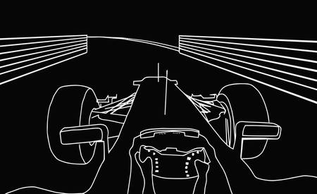 formula 1: Silhouette Drawing of F1 Racing Car Cockpit View Negative