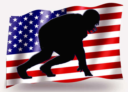 Country Flag Sport Icon Silhouette Series � USA American Football Scrimmage photo