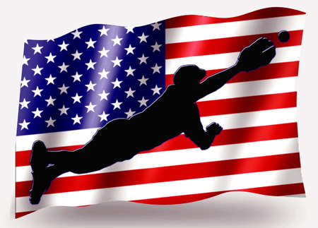 Country Flag Sport Icon Silhouette Series – USA Baseball Dive Stock Photo - 11236024
