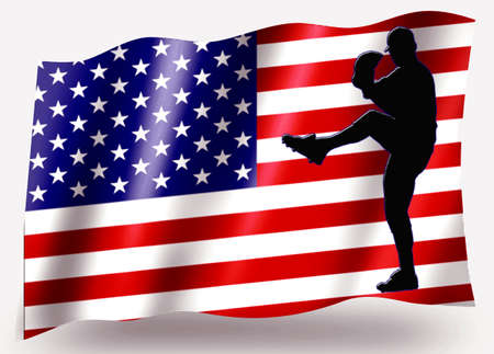 Country Flag Sport Icon Silhouette Series � USA Baseball Pitcher photo