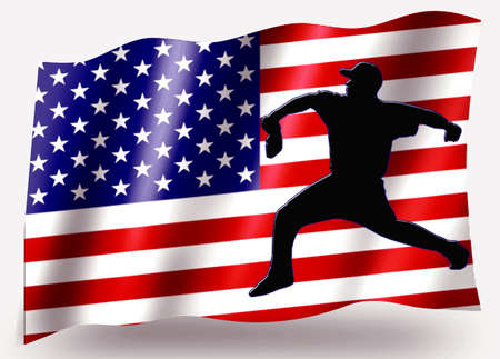 pitching: Country Flag Sport Icon Silhouette Series � USA Baseball Pitching