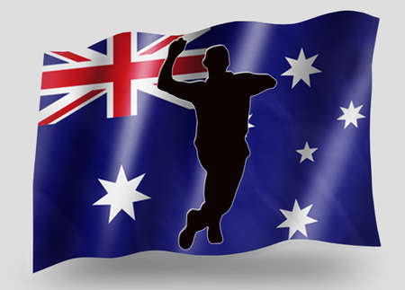 Country Flag Sport Icon Silhouette Series – Australia Cricket Bowling Stock Photo - 11236066