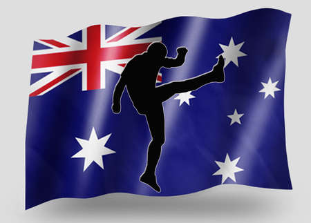 preasure: Country Flag Sport Icon Silhouette Series � Australia Rugby Up and Under Kicker Stock Photo