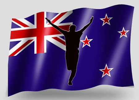 Country Flag Silhouette Sport Icon Series New Zealand Cricket photo