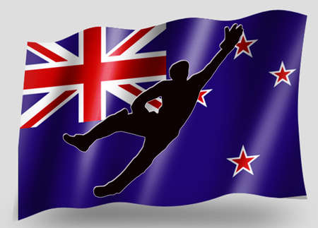 Country Flag Sport Icon Silhouette Series � New Zealand Cricket Catch photo