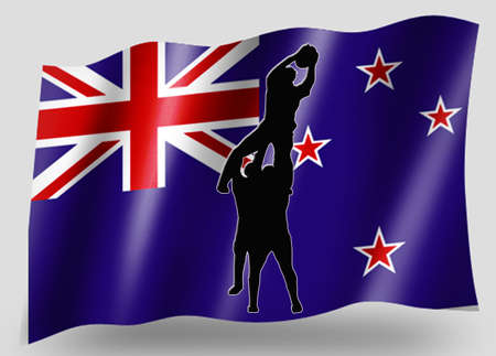 Country Flag Sport Icon Silhouette Series � New Zealand Rugby Lineout Jump photo