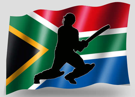 rsa: Country Flag Sport Icon Silhouette Series � South Africa Cricket Batsman