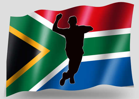 Country Flag Sport Icon Silhouette Series � South Africa Cricket Bowling photo