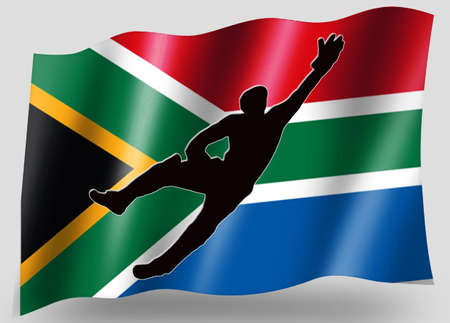 Country Flag Sport Icon Silhouette Series � South Africa Cricket Catch photo