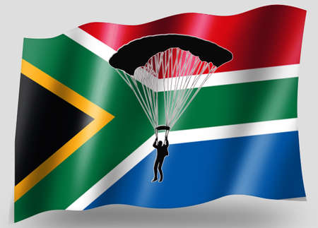 parachuter: Country Flag Sport Icon Silhouette Series – South Africa Parachuting