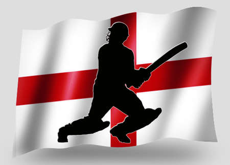 Country Flag Sport Icon Silhouette Series � English Cricket Batsman photo