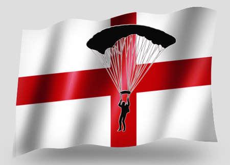 parachuter: Country Flag Sport Icon Silhouette Series � English Parachuting