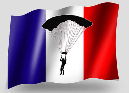 parachuter: Country Flag Sport Icon Silhouette Series – French Parachuting