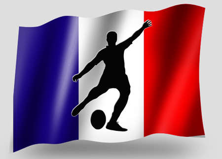 Country Flag Sport Icon Silhouette Series – French Rugby Place Kick photo