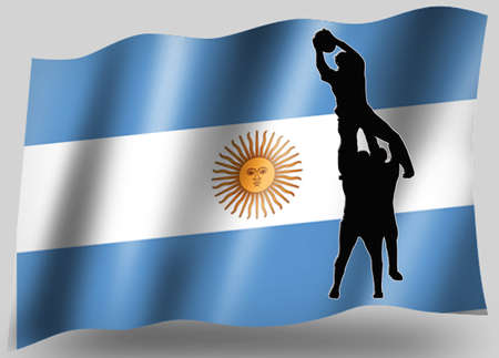 Country Flag Sport Icon Silhouette Series – Argentine Rugby Lineout photo