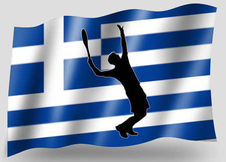 Country Flag Sport Icon Silhouette Series � Greece Tennis Stock Photo - 11236088