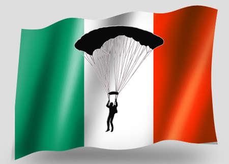 parachuting: Country Flag Sport Icon Silhouette Series � Irish Parachuting