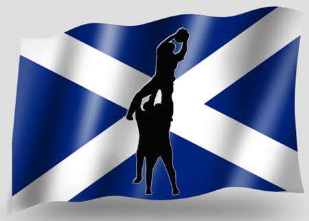 scots: Country Flag Sport Icon Silhouette Series � Scottish Rugby Lineout