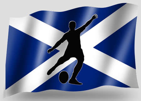 scots: Country Flag Sport Icon Silhouette Series � Scottish Rugby Place Kick