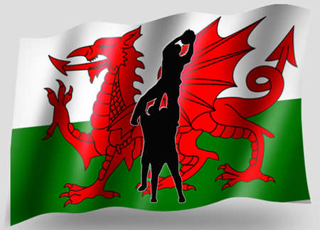 Country Flag Sport Icon Silhouette Series – Welsh Rugby Lineout photo