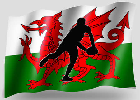 welsh flag: Country Flag Idolo sportivo Silhouette Serie gallese di rugby Passo Archivio Fotografico