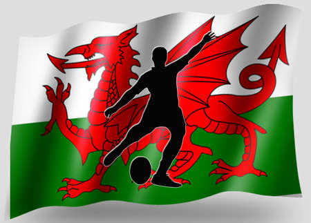 welsh: Country Flag Sport Icon Silhouette Series � Welsh Rugby Place Kick Stock Photo