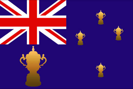 embroidered: New Zealand Flag with Embroidered Rugby World Cup Trophy in Place of Stars with Large Cup Stock Photo