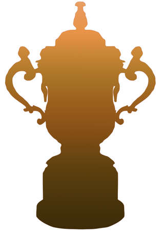 Isolated Rugby World Cup Trophy in Gold on White Background