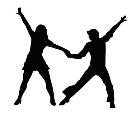 танцор: Танцующая пара силуэт в 1970 танце позы