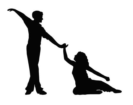 Dancing Couple Boy Helping Girl to Feet Silhouette Vector