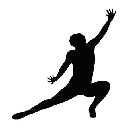 Dancing Lady Kneeling Spread Leg Pose Silhouette Vector