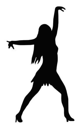 legs spread: Chica bailando con los brazos abiertos en Sexy Pose Silueta Vectores