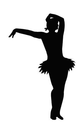 Dancing Girl with Outstretched Arm Offering Hand Silhouette Vector