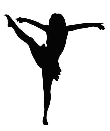 spread legs: Dancing Girl with Spread Arms Giving High Kick Silhouette
