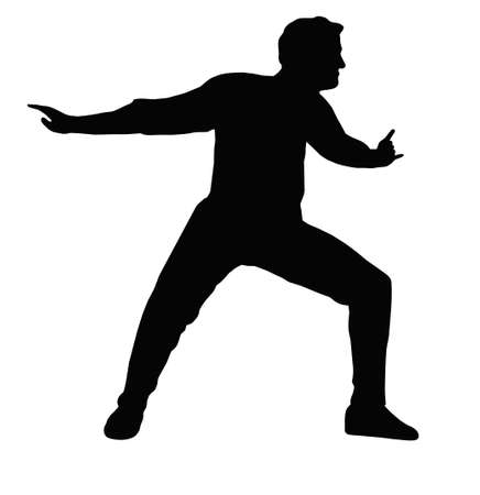 Dancing Boy with Arms Back Forward Step Pose  Silhouette Stock Vector - 11426187