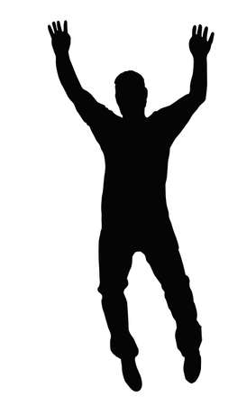 silhouette of man: Dancing Boy Walking on Toes or Jump  Silhouette Illustration